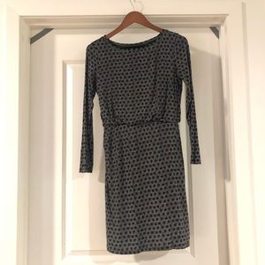 Ann Taylor LOFT Navy Blue/White Long sleeved dress
